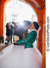 romanticos, noivinhos, seu, dia casamento