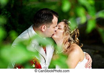 romanticos, noivo, passeio, noiva, beijo, casório