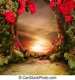 romanticos, paisagem, jardim