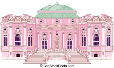 romanticos, palácio, para, um, princesa