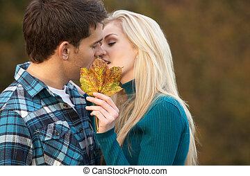 romanticos, par adolescente, beijando, atrás de, folha...