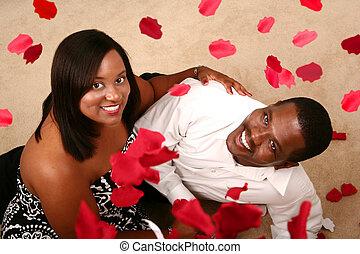 romanticos, par americano africano, observar, queda, pétala...