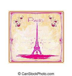romanticos, paris, par, -, abstratos, cartão