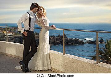 romanticos, quadro, de, a, casamento, par