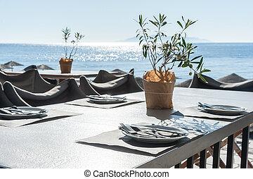 romanticos, restaurante, praia, -, santorini