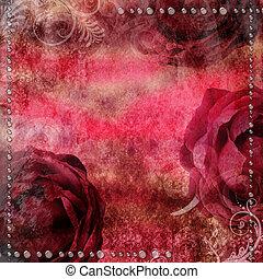 romanticos, vindima, fundo, com, secos, rosa, e, gotas