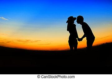 romantik, dějiště, o, láska, den