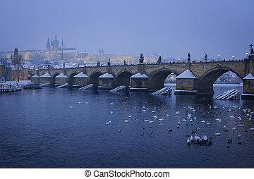 romantik, sněžný, čech, praha, karel, gotický, republika, věž, můstek