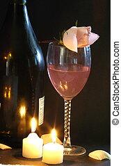 romantikus, éjszaka, együtt