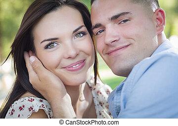 romantikus összekapcsol, liget, faj, kevert, portré