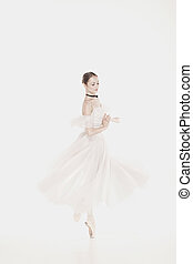 romantikus, beauty., retro mód, ballerinas