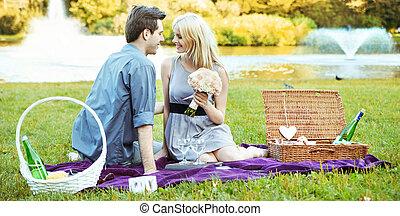 romantikus, dátum, képben látható, a, betakar