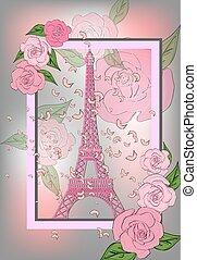 romantikus, design., háttér, bástya, agancsrózsák, poszter, eiffel, franciaország, szüret