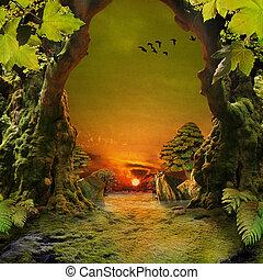 romantikus, erdő, kilátás