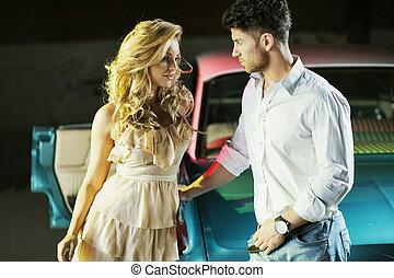 romantikus, este, helyett, a, szerelmes pár
