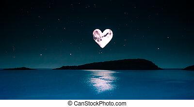 romantikus, film, közül, egy, heart-shaped, hold, felett,...