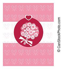 romantikus, kártya, noha, menyasszony, csokor virág