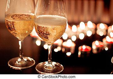 romantikus, két, kedves, háttér, vacsora, szemüveg, bor
