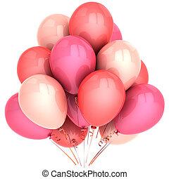 romantikus, léggömb, színezett, rózsaszínű, hues