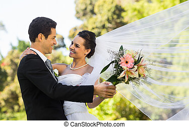 romantikus, newlywed, összekapcsol táncol, dísztér