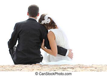romantikus, newlywed, párosít, ülés, képben látható, tengerpart
