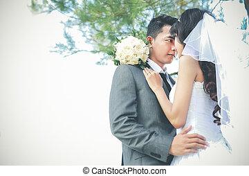 romantikus, newlywed, párosít, alatt, napos nap