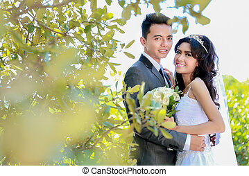 romantikus, newlywed, párosít, boldog, being együtt