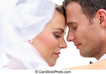 romantikus, newlywed, párosít