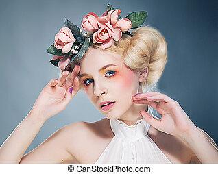 romantikus, nostalgia., koszorú, flowers., portré, szőke,...
