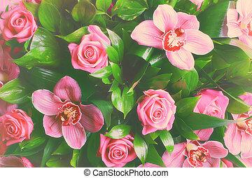 romantikus, rózsa, virágos, sikk, háttér, orhidea, kopott