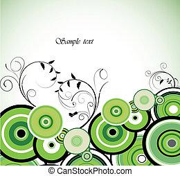 romantikus, ring., háttér., vektor, zöld, virágos