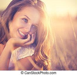 romantikus, szépség, természet, friss, leány, outdoors.