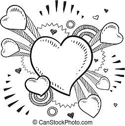 romantikus, szív, skicc