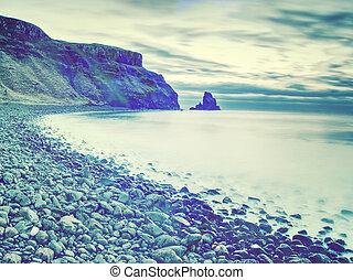 romantikus, tengerpart, nyomoz, sunset., köves, sziget, ...