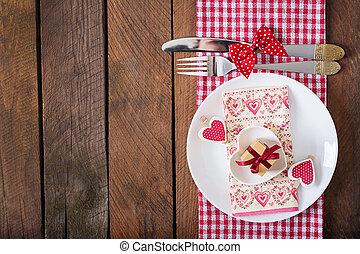 romantikus, tető, valentines nap, falusias, letesz asztal, style., kilátás