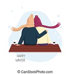 romantique, aimer, silhouette, couple, asseoir, banc