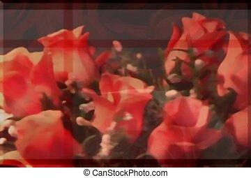 romantique, amour, roses rouges