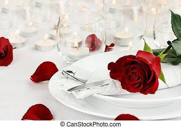 romantique, arrangement tableau, lumière bougie