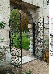 romantique, barrière, portail, mener, à, rose, jardin