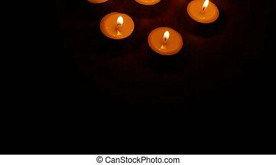 romantique, brûler, nuit, nature morte, bougies, brulure, ...