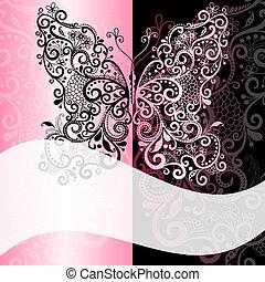 romantique, cadre, vendange, pink-black
