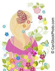 romantique, cheveux, conception, blonds, girl, fleurs, ton
