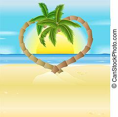 romantique, coeur, arbres, plage, paume, illustration