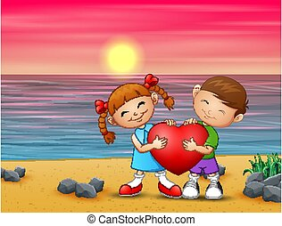 romantique coupler, aimer, plage
