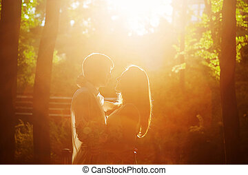 romantique coupler, parc, coucher soleil, devant, baisers, aimer