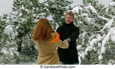romantique coupler, parc, jeune, amusement, avoir, hiver