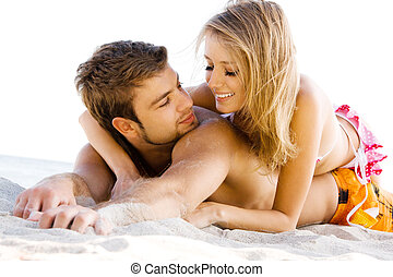 romantique coupler, sur, les, bord mer