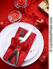 romantique, dîner., couvert, pour, jour valentine