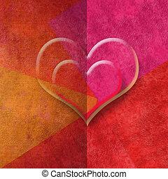 romantique, espace, deux, tonalités, rouges, cœurs, copie, carte