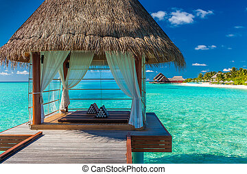 romantique, et, luxueux, overwater, spa, à, exotique, lagune, vue